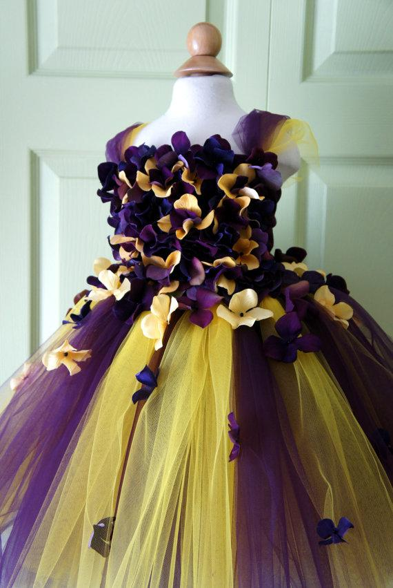 Wedding - Flower Girl Dress, Tutu Dress, Photo Prop, in Purple and Yellow, Flower Top, Tutu Dress