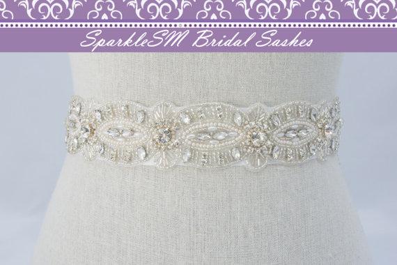 Mariage - Rhinestone Pearl Bridal Sash, Beaded Wedding Belt, Crystal Rhinestone Belt Sash, Bridal Sash, Bridal Belt, SparkleSM Bridal Sashes, Courtney