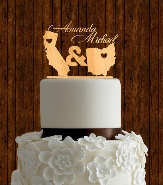 Wedding - State love cake topper / wood cake topper / wedding cake topper / natural wood cake topper / unique cake topper / destination cake topper