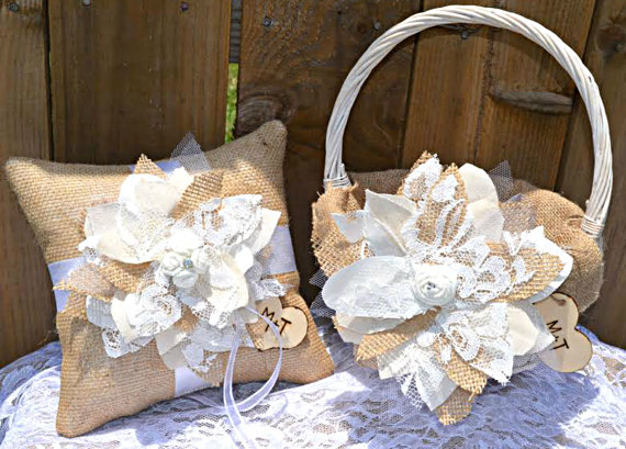 Wedding - PERSONALIZED Burlap Lace Ring Pillow and Flower Girl Basket Set, Custom ring pillow and basket, Burlap and Lace, Burlap ring pillow, basket