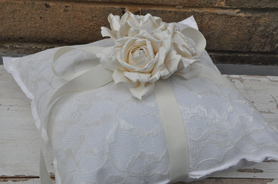 Wedding - White Cotton and Lace Ring Bearer Pillow  - Simple Ring Bearer Pillow - Woodland Barn Wedding