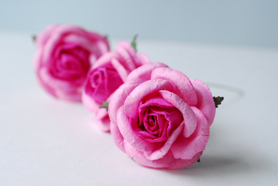 Mariage - Paper Flower, 20 pieces mulberry rose size L, Pink 2 tone colors.