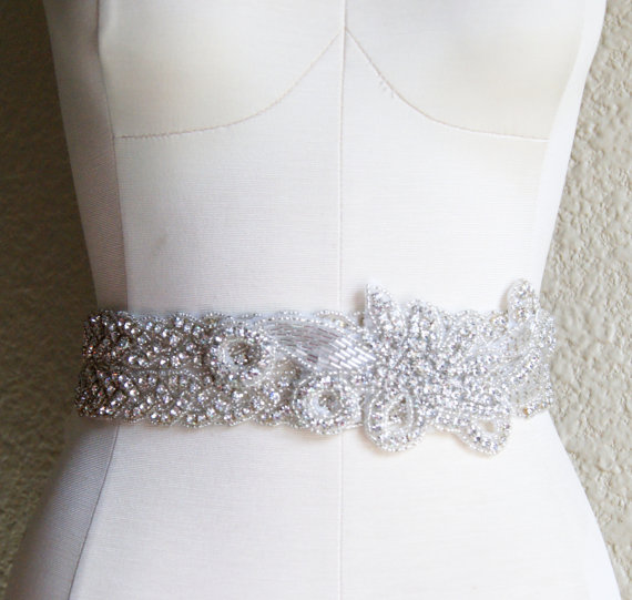 Wedding - Crystal Bridal Sash GAYLE  Rhinestone Encrusted Wedding Belt