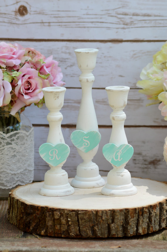 Wedding - shabby chic unity candle set, mint wedding ceremony unity candle holders, rustic vintage wedding decor, set of 3