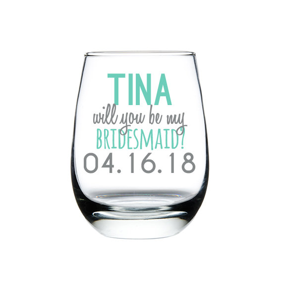 Wedding - Bridesmaid Proposal Custom Stemless Wine Glass, Wedding Party Favors, Bridesmaid Gift, Will You Be My Bridesmaid, Bridal Party Favors