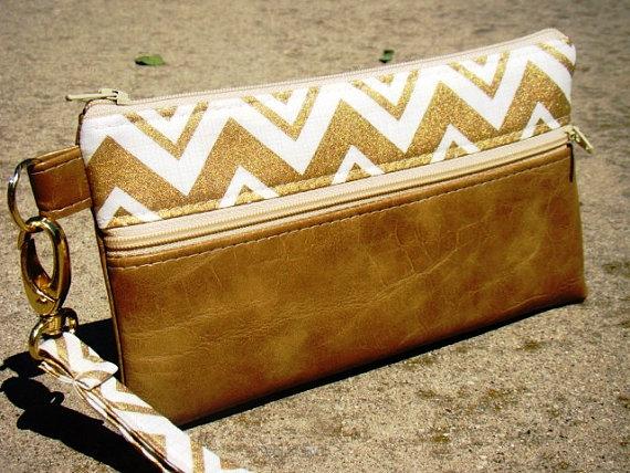 Gold Metallic Chevron Vegan Leather Wristlet Wedding Clutch Custom Wristlets Bridesmaids Gifts Phone Bags Personalized
