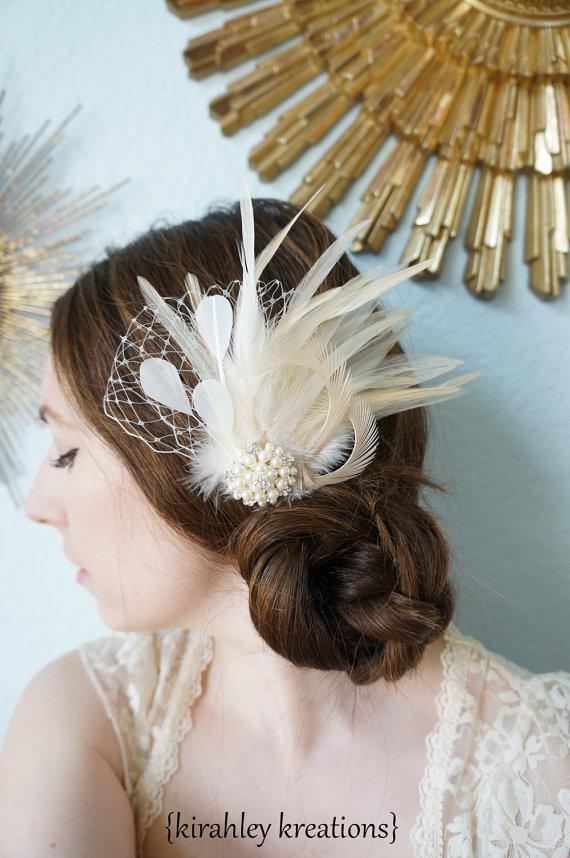 Свадьба - CARMEN w/ VEIL -- Ivory Off White Cream Feather Bridal Bride Vintage Inspired Hairpiece Wedding Fascinator Birdcage Veiling Pearl Rhinestone