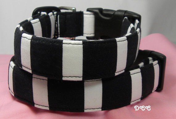 زفاف - Dog Collar Bold Large Black White Stripes Dogs Collars Classic Adjustable Dog Collar D Ring Choose Size Accessories Accessory Pet Pets