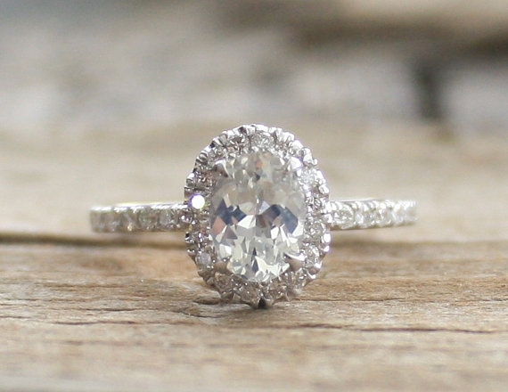 Свадьба - Oval White Sapphire & Diamond Halo Engagement Ring in 14K White Gold