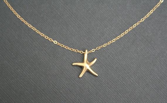 Gold Starfish Necklace Starfish Necklace Star Necklace Bridesmaid