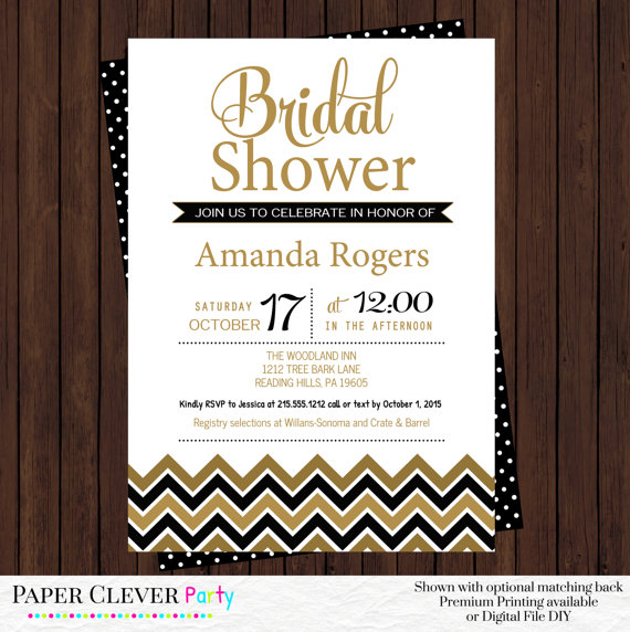 Black And Gold Bridal Shower Invitations Modern Chevron Champagne Brunch Party Elegant Wedding Theme Personalized Prints Or Printable