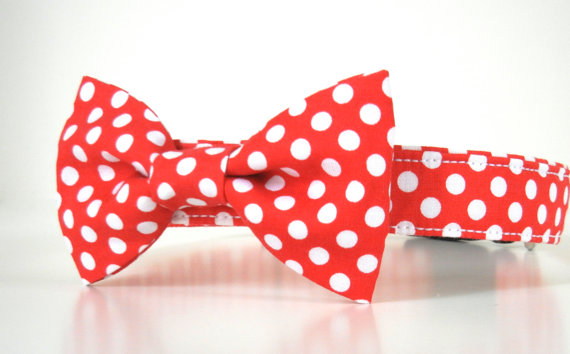 Свадьба - Red Polka Dot Bow Tie Dog Collar Christmas Collar Valentine's Collar Wedding Accessories Made to Order