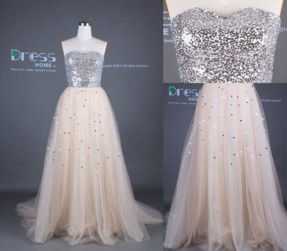 Wedding - Champagne Sweetheart Neckline Sequins Tulle A Line Prom Dress/Sexy Silver Sequins Long Party Dress/Engagement Party Dress DH335