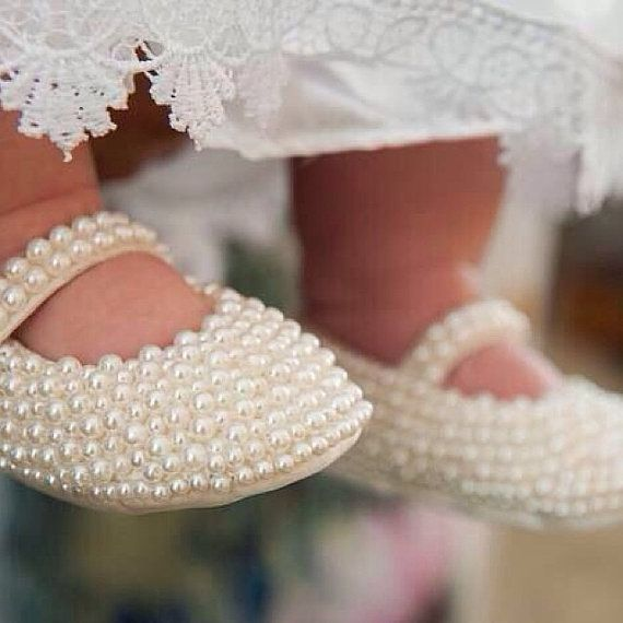 White Peral Ballet Shoes Swarovski Crystal Baby Shoes Baby