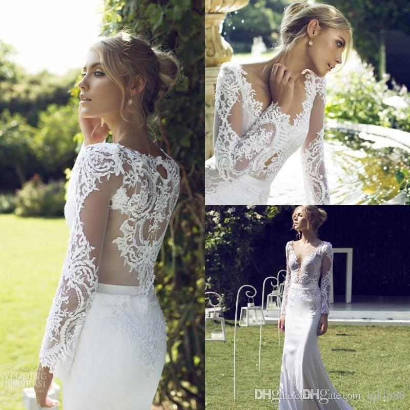 Wedding - 2015 Riki Dalal Stunning Lace Appliqued V Neck Wedding Dresses With Long Sleeves Sweep Train Mermaid Bridal Gown Wedding Dresses Online with $124.61/Piece on Hjklp88's Store