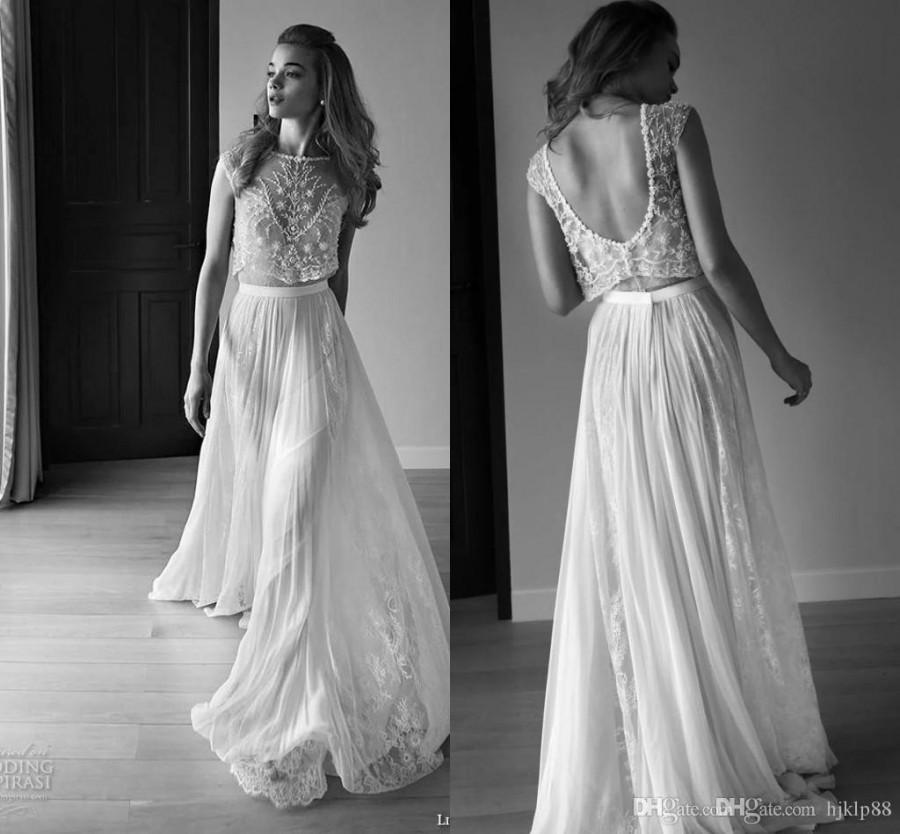 65a26f0f469e Lihi Hod 2015 Summer Lace Two Pieces Beach Wedding Dresses High Neck  Backless Beaded Bohemian Wedding Gowns With Sleeves Custom FY487 Online  with ...