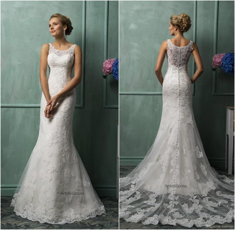 Amelia Sposa 2015 Mermaid Wedding Dresses Vintage Bateau Neck Lace Appliqued Sheer Back Tulle