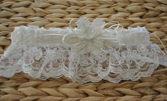 Mariage - Ready To Ship, Wedding Garter, Lace Garter, Bridal Garter,  Ivory  Lace Garter