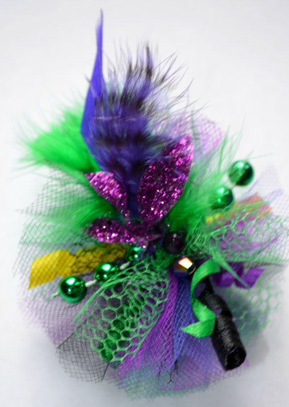 Свадьба - Mardi Gras Feather Fascinator Dog Hair Bow - Style 2