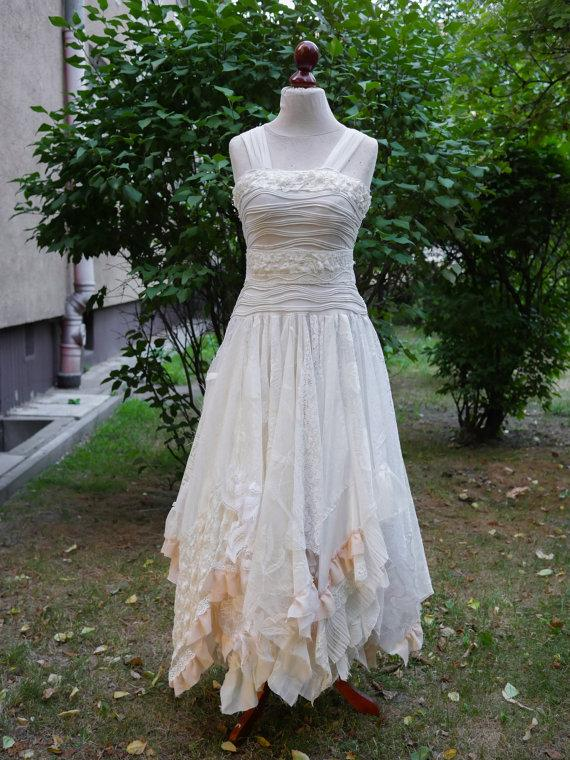 Düğün - Upcycled Wedding Dress Fairy Tattered Romantic Dress Upcycled Woman's Clothing Shabby Chic Funky Eco Style MADE TO ORDER
