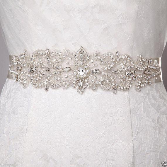 Mariage - White/Ivory Crystal Beaded Jeweled Rhinestone Belt Sash Wedding Dress Accessory