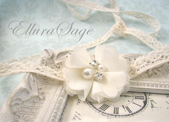 Ivory Lace Tie Back Headband a6d40ce4d97