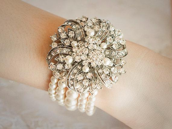 Mariage - Wedding Bracelet, Swarovski Pearl Bridal Bracelet, Art Deco Bridal Wedding Bracelet, Vintage Style Crystal Bracelet, Wedding Jewelry, IRENY