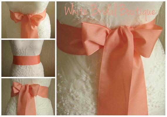 Hochzeit - Coral orange sash Coral wedding sash Coral sash Coral ribbon sash Orange coral sash Orange wedding sash Coral bridesmaid 3 inch coral ribbon