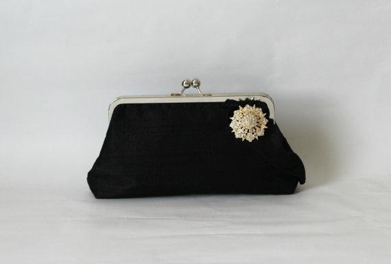 زفاف - Black Bridal Clutch - Black Wedding Purse -Bridesmaids Clutch - Bridal Clutch with Crystal Brooch - Giselle Clutch