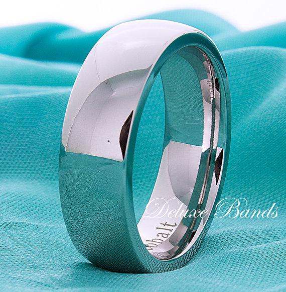 Cobalt Wedding BandMens Cobalt BandCobalt Chrome Couple RingDomed