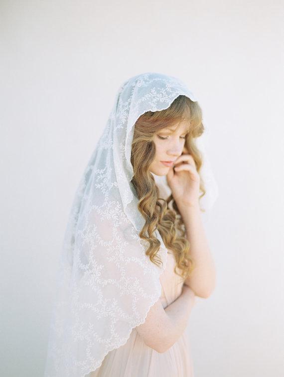 Hochzeit - Fingertip Length Wedding Veil - Cotton Voile Floral Embroidered Mantilla Bridal Veil, Ivory Wedding Veil - Style 404