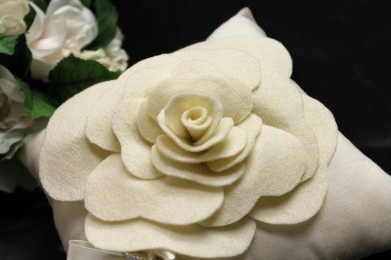 Wedding - ivory ring bearer pillow shabby chic