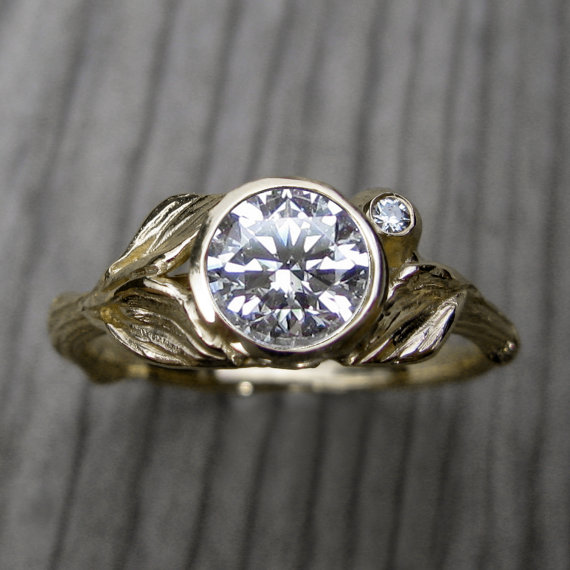 Hochzeit - Moissanite Twig & Leaf Engagement Ring: White, Yellow, or Rose Gold; 14k or 18k Recycled Gold