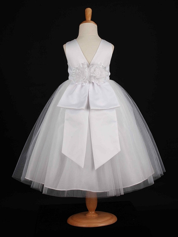 Mariage - White With Removable Sash With Many Colors To Choose Party  Flower Girls Dress 12m 18m 2/2t 4/4t 6 8 10 12