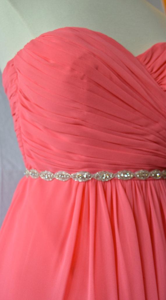 Hochzeit - Thin Crystal Rhinestone Belt -  Bridesmaids Belt - EYM B007