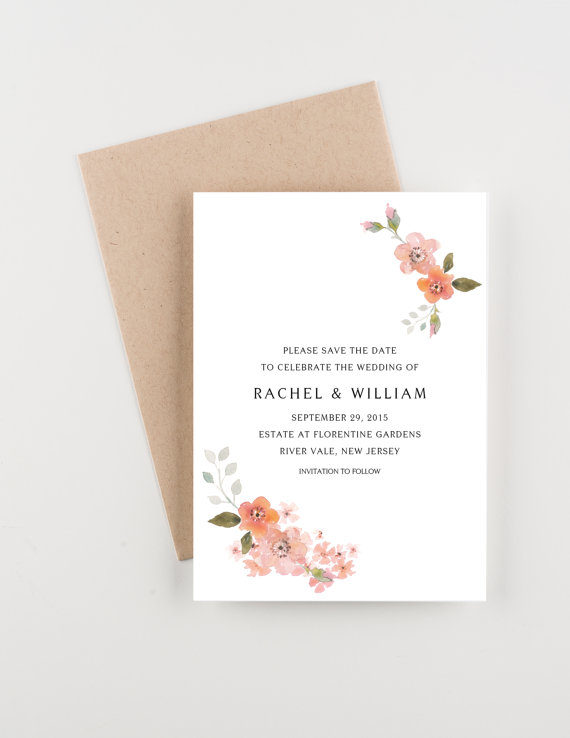 Hochzeit - Blush and Peach Blossoms Save The Date, Blush Pink and Fuchsia, Bridal Shower, Wedding Invitation