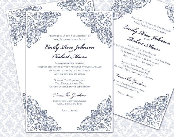 Wedding - DIY Wedding Invitation Printable Template (5x7 invitation)