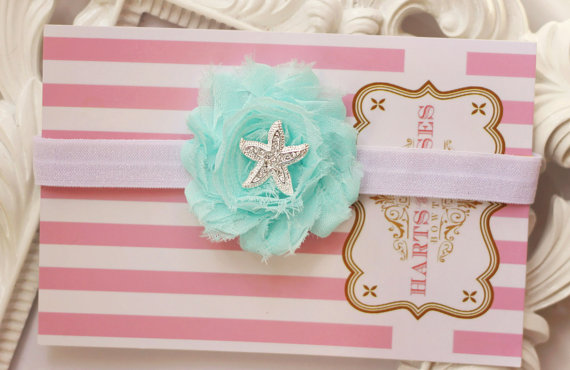 Свадьба - Aqua Starfish Headband.Shabby Chic Baby Girl Headband.Flower Girl Headband.Wedding Hair Accessory.Baby Headband.Starfish.Baby Girl.Baby Bow