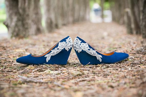 Hochzeit - Wedding Shoes - Blue Wedges, Blue Wedding Heels, Low Blue Wedge, Something Blue, Bridal Shoes with Ivory Lace. US Size 9