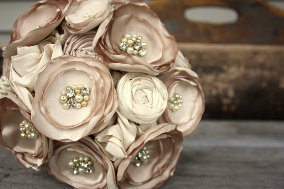 """Mariage - Champagne bridal bouquet, Fabric flower wedding bouquet, 8"""" alternative fabric flower bouquet"""