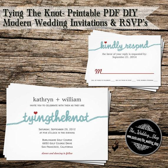 Tying The Knot Printable PDF DIY Modern Wedding Invitations