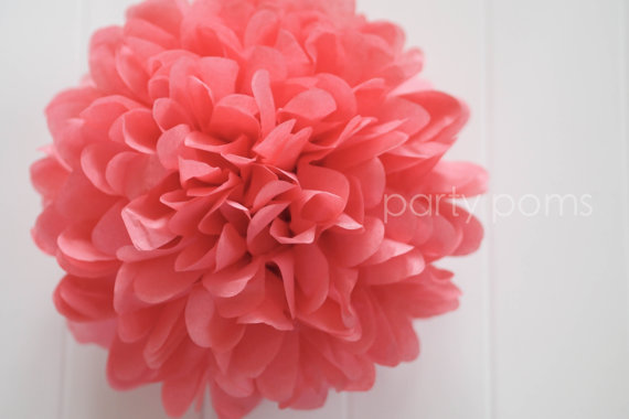 Wedding - Island pink tissue paper pom .. party decor / wedding decoration