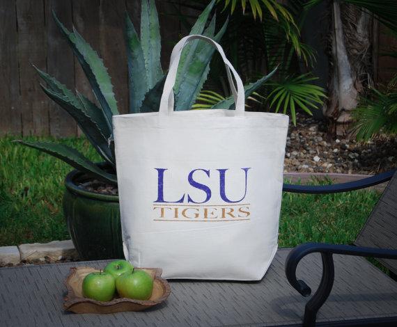 Свадьба - Louisiana State University LSU Eco Friendly Large Canvas Bag, Farmers Market Bag, Beach Bag, Large Tote Bag, Groomsmen Bag, Bachelor Bag