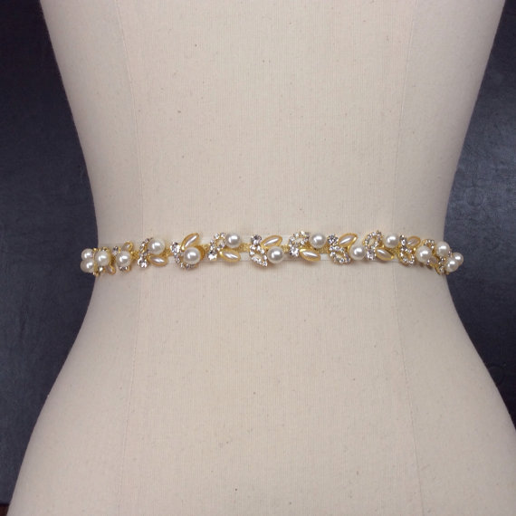Свадьба - Bridal Belt, Thin Gold Bridal Belt, Wedding Belt, Gold Wedding Belt, Rhinestone and Pearl Belt, Skinny Belt, Best Friend Bridal 178G