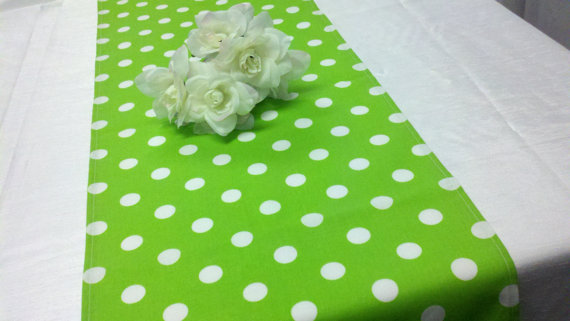 Wedding - CHOOSE COLORS RUNNER Sizes Table Runner Polka Dot White Lime, Grey, Black, Red, Navy, Pale Yellow, Lilac, Rose Pink Dots Dotted  72""