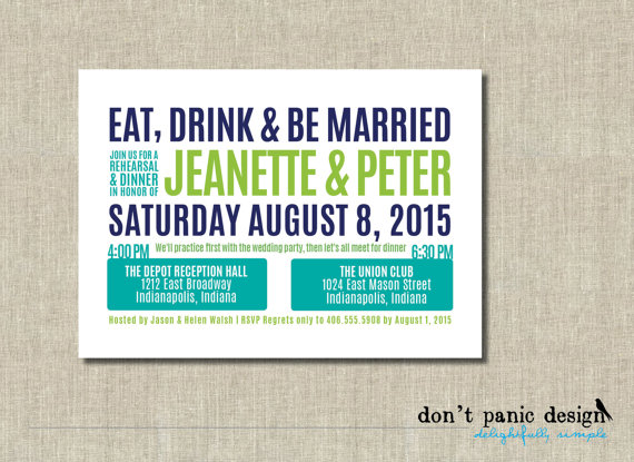 Hochzeit - Fun Printable Rehearsal Dinner Invitation Eat, Drink & Be Married - Turquoise, Lime Green, Navy Blue Custom Colors