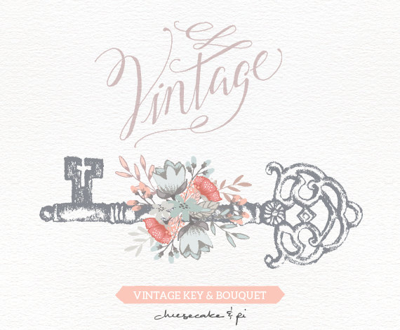 Свадьба - Vintage key with floral bouquet clipart / Wedding invitation clip art graphics / commercial use / rustic / antique / CM0062b