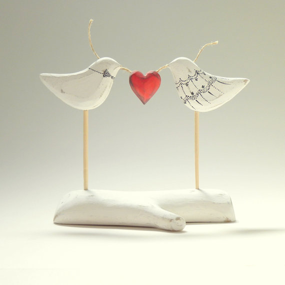 Wedding - Bride and Groom Love Bird Wedding Cake Topper, Love Bird Cake Topper, His and Her Wedding Cake Keepsake