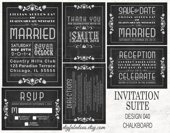 Hochzeit - DESIGN 040 CHALKBOARD Wedding Invitation Printable Subway Wedding Invitation Chalkboard Wedding Invitation Black & White Wedding