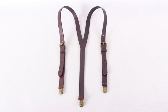 Свадьба - Hand Stitched Leather Suspender For Wedding 0191